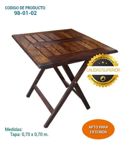 Abaco muebles y publicidad cat logo de productos for Mesa 70x70 madera